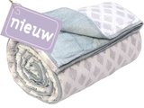deken quilt tweepersoons reversible blockprint -violet op wit/groen op wit