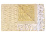 sprei/deken eenpersoons grafisch jaquard white/warm yellow_