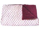 deken quilt peuter/kind -blockprint op wit/donkerrood fluweel