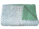 deken quilt peuter/kind -blockprint op wit/ jade groen fluweel