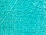 deken quilt peuter/kind -blockprint op wit/ mintgroen fluweel