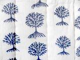 detail deken quilt eenpersoons reversible blockprint -blauw/blauw op wit