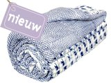 deken quilt eenpersoons reversible blockprint -blauw met grijs op wit