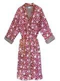 kimono quilted katoen -raspberry blockprint on white/ flower branche