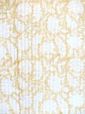 stofdetail kimono quilted katoen -soft yellow blockprint on white/ flower branche
