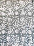 kimono quilted katoen -antraciet blockprint on white/ flower branche