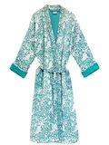 kimono quilted katoen -green blockprint on white/ flower-paisley branche