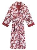 kimono quilted katoen -deep red blockprint on white/ paisley print