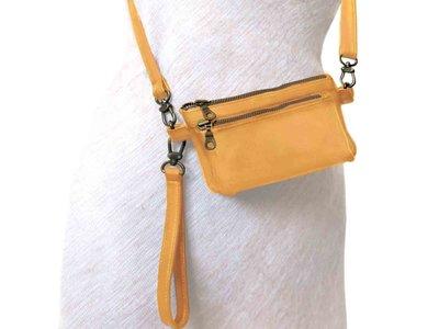 tas portemonnee leer medium- warm yellow