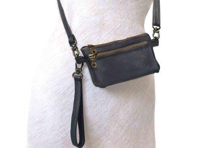tas portemonnee leer medium- warm grey