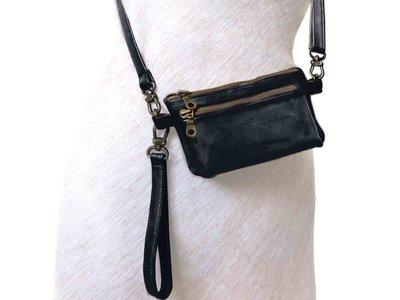 tas portemonnee leer medium- black