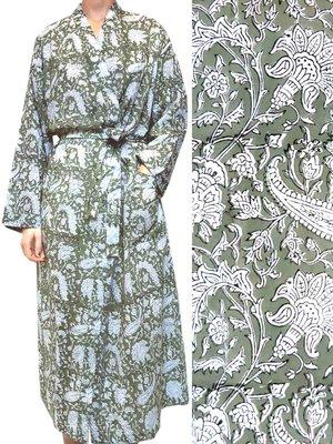 kimono katoen -olijfgroen op wit blockprint