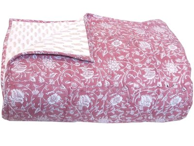 deken quilt tweepersoons reversible blockprint -roze framboos/zand