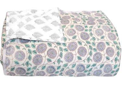 deken quilt tweepersoons reversible blockprint - azul-blauw/grijs