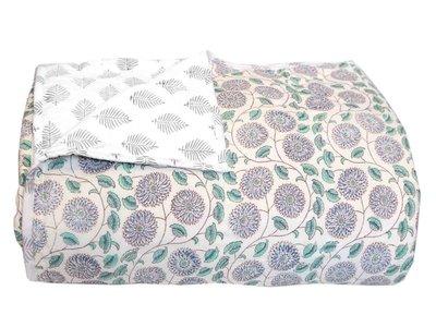 UITVERKOCHT-deken quilt eenpersoons reversible blockprint - azul-blauw/grijs