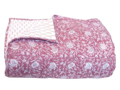 deken quilt eenpersoons reversible blockprint -roze framboos/zand