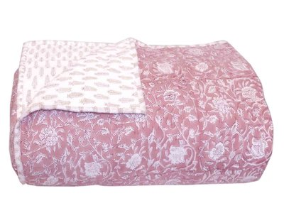 deken quilt eenpersoons reversible blockprint -roze medium/zand