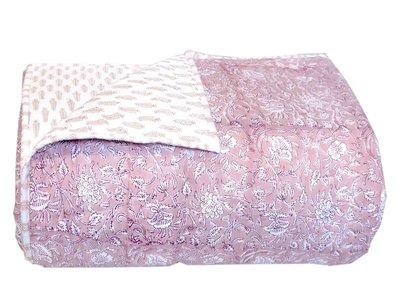 deken quilt eenpersoons reversible blockprint -roze licht/zand