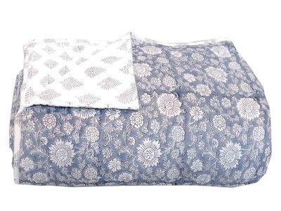 deken quilt eenpersoons reversible blockprint -blauwgrijs/grijs