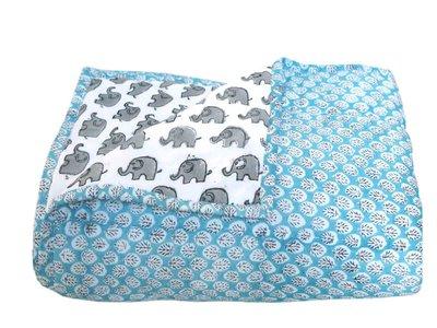 deken quilt peuter/kind - blockprint op wit: druppelblaadje/olifant