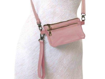 tas portemonnee leer medium- pink