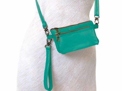 tas portemonnee leer medium- leaf green