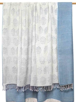 deken reversible wol -blockprinted beige/cloudy blue