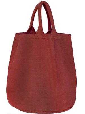 opbergzak/ tas rond zware katoen - roodbruin