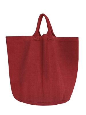 opbergzak/tas medium rond zware katoen - roodbruin
