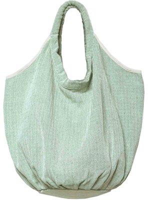 tas / tote bag XL -ronde bodem visgraat- lentegroen