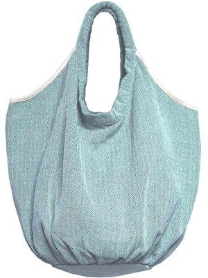 tas / tote bag XL -ronde bodem visgraat- turquoise