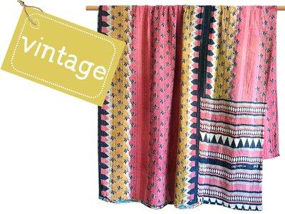 deken / quilt vintage katoen - retrodessins multicolor patchwork
