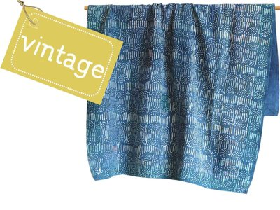 deken / quilt indigo 1 vintage katoen - stripes and dots