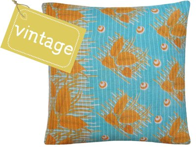 sierkussen hoes XL 60x60 vintage 3 - warm yellow retro leaves on aqua fond