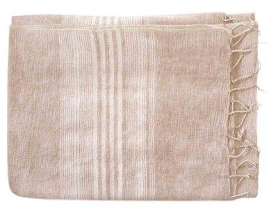 deken-plaid wolmix/katoen-5 gemêleerd taupe streep