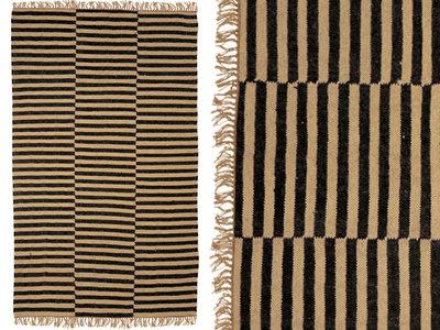 vloerkleed handgeweven jute/wol met streepdessin