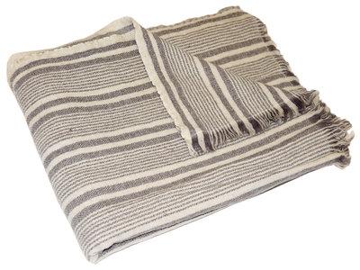 deken graphic streep wol grijs