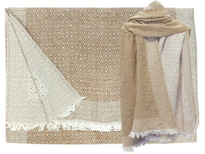 UITVERKOCHT-sjaal wol/katoen diamond reversible caramel