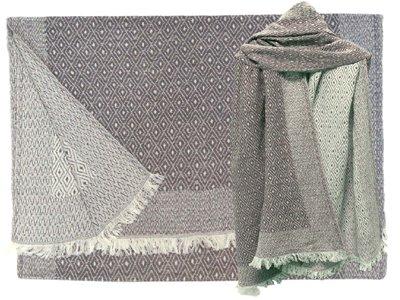 UITVERKOCHT sjaal wol/katoen diamond reversible liver grey