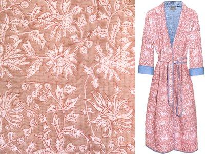 kimono quilted katoen -pale sienna
