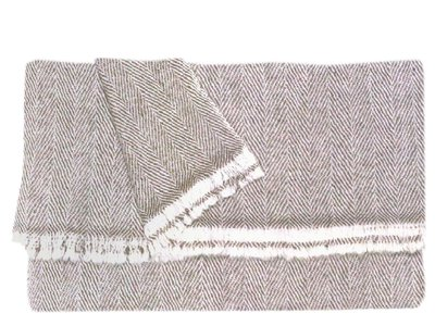 omslagdoek meditatiedeken kashmir wol visgraat bruin