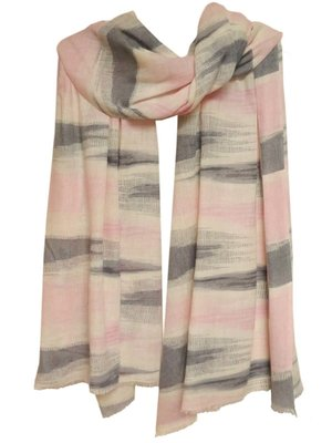 sjaal cashmere ikat print offwhite/soft pink/grey