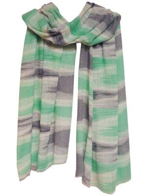 UITVERKOCHT sjaal cashmere ikat print offwhite/soft green/grey