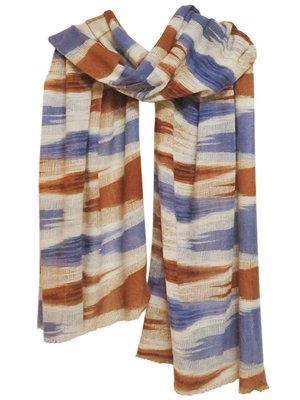 sjaal cashmere ikat print offwhite/warm brown/blue