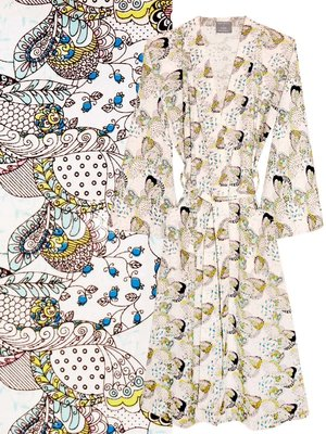 kimono katoen printed- fantasy flower- on white