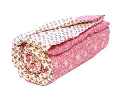 uitverkocht-deken quilt eenpersoons blockprint -roze-bloem