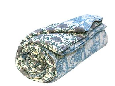 deken quilt eenpersoons blockprint -blauw-paisley
