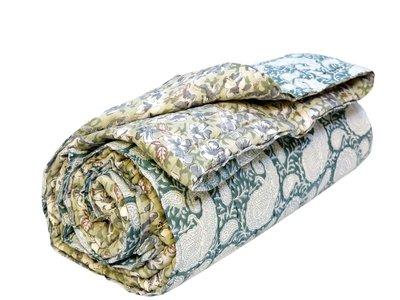 deken quilt eenpersoons blockprint -petrol-paisley