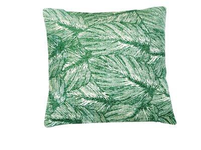 UITVERKOCHT-sierkussenhoes katoen 50x50 print jungle leaf -mosgroen