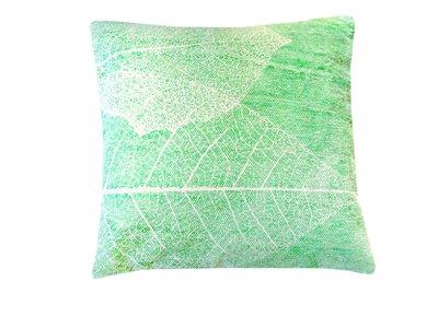 sierkussenhoes katoen 50x50 print big leaf -pistache